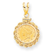 14k Screw Top 2.5 Old Us Coin Bezel Mounting, Best Quality Free Gift Box Satisfaction Guaranteed - Base Only, No Stones