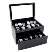 Piano Glossy Black Wood Watch Case Display Storage Box with Glass Top Holds 20+ Watches, Adjustable Soft Pillows and Hig