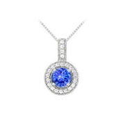 UBUNPD32336AGCZTZ600 Fancy Round Created Tanzanite and Cubic Zirconia Halo Pendant in 925 Sterling Silver