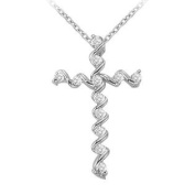 UBNPD31510AGCZ April Birthstone Cubic Zirconia Cross Pendant in 925 Sterling Silver