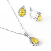 .925 Sterling Silver Rhodium Plated Pear Shaped Created Citrine Earring Pendant Necklace Set