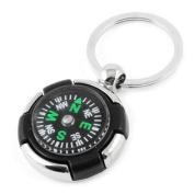 3cm Dia Metal Ring Keys Holder Black Compass Keychain Keyring