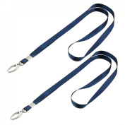2 Pcs Dark Blue Nylon String Keys Card Holding Lanyard 41cm