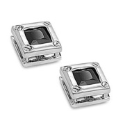 Sterling Silver Square Shape Stud Earring - Black