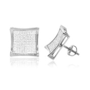 MyDiaLand 0.25 CT,Round Brilliant cut Diamond Micro-pave Setting kite Men's Stud Earrings in 14K White Gold