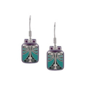 Laurel Burch Toshio Cat Blue and Purple Cloisonne Dangle Earrings
