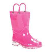 Girls' Western Chief Lighted Solid Rain Boot Pink