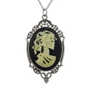 Victorian Skeleton Cameo Necklace with Silver Tone Frame 80cm .
