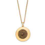 Brown Crystal Gold Over Bronze Circle Pendant