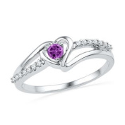925 Sterling Silver 0.07 ctw Diamond 0.14 ctw Created Amethyst Ring