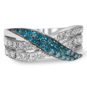 Sterling Silver Blue and White Diamond Crossover Band Ring - 1/2 cttw