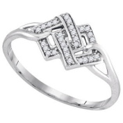 925 Sterling Silver 0.08 ctw Diamond Micro-Pave Ring