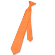 Boy's CLIP-ON NeckTie Solid ORANGE Colour Youth Neck Tie