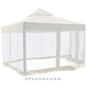 3mx 3m Gazebo Canopy Replacement 2 Tie UV30+ 200g/sqm Patio Cover Top w/ 200cm Mosquito Net