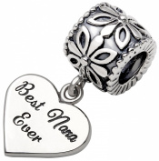 "ALOV Jewellery Sterling Silver""Best Nana Ever"" Bead Charm Best Gift For Grandmother,Nana,Nanny,Grandma,Granny,Meemaw,Memaw on Mother's day,Birthday,Christmas Gift"