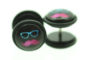 Pair of Top Quality MOUSTACHE Fake Ear Plug Cheater Earrings 10mm