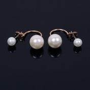 TR.OD Women's Fashion Pearl Bead Gold Plated Ear Piercing Pin Stud Earrings