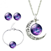 Jiayiqi Mystical Galaxy Universe Time Gem Pendant Necklace Earrings Set for Women Holiday Gift
