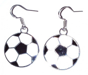 Juicy Jewellery 925 Sterling Silver & Enamel Black & White Football Earrings Matching Necklace Also Available