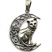 Solid Sterling Silver Moon Cat Wicca Pentagram Pendant P070