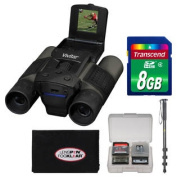 12x25 Binoculars with Built-in Digital Camera with 8GB Card + Monopod + Accessory Kit