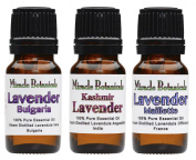 Miracle Botanical Lavender Trio - 100% Pure Essential Oils of Bulgarian, Maillette, and Kashmir Lavenders - Therapeutic Grade - Set of 3 10ml