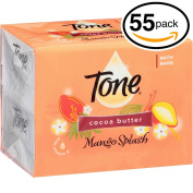 (PACK OF 55 BARS) Tone Soap Bath Bar, Mango Splash. COCOA BUTTER, BOTANICALS & VITAMIN-E. Rich & Creamy Lather! Great for Hands, Face & Body!