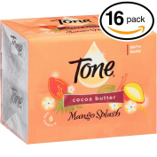 (PACK OF 16 BARS) Tone Soap Bath Bar, Mango Splash. COCOA BUTTER, BOTANICALS & VITAMIN-E. Rich & Creamy Lather! Great for Hands, Face & Body!