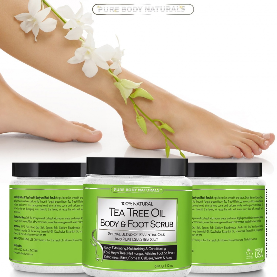 Tea Tree Oil Body and Foot Scrub - Tea Tree Oil Benefits Fights Ring Worm &  Athlete's Foot, Softens Corns, Reduces Itching & Acne - Exfoliating Body