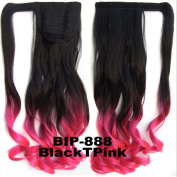 Beauty Wig World 22inch 55cm 90g Two Tone Long Curly clip in on wrap around ponytail hair extension -Black to Pink
