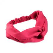 2pcs Women Turban Elastic Twist Knot Head Wrap Twisted Knotted Headband Hair Band, Wine Red