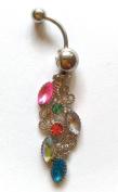 Crystal Multi Colour Piercing Navel Trendy Body Jewellery for Women's