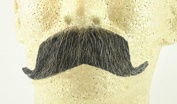 Rubies Colonel Major Moustache DARK GREY - no. 2014 - REALISTIC! 100% Human Hair