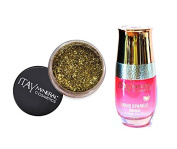 ITAY Minerals Cosmetics Glitter Powder Eye Shadow G-27 Champagne + Liquid Sparkle Bond