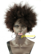 Riglamour Short Kinky Curly Afro Wig for African American Real Indian Remy 100% Human Hair Wigs for Black Women None Lace Machine Made Full Wig Natural Black Colour