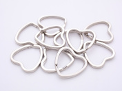 Gauze and studio double ring heart-shaped (about 32x31mm) about 10 Silver Nikoiru key ring key chain bracket double ring sub-materials handicraft material craft part Goods
