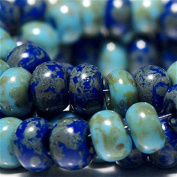 20 g Picasso Travertine 3/0 Czech Glass Seed Beads Blue Shades Mix