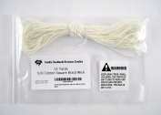 Size 5/0 Cotton Square Braid Candle Wick (Approx. 15 Yards/14m) - 100% Cotton Candle Wick - Unprimed and Lead-Free - Made in the USA