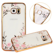 Samsung Galaxy S6 Crystal TPU Cover - UZZO Luxury Stylish Design Electroplated Gold Frame TPU Bumper Case With Bling Diamond and Flower Series Clear Silicone Case for Samsung Galaxy S6