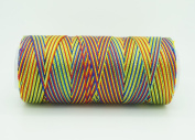VARIEGATED MULTICOLOR 0.6mm 100% Nylon Twisted Cord Thread Micro Macrame Beading Knitting Crochet Needle Crafts
