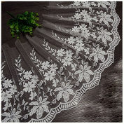 Ivory 3 Yards Retro Fabric Embroidered Mesh Lace Trim Curtain Lace Sewing Lace 30cm Wide