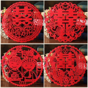 Chris-Wang 4Pairs Traditional Chinese Wedding Banquet Red Nonwovens Double Happiness XI Paper-cut/Papercuts/Paper Cutting for Window/Door/Mirror/Desk/Refrigerator Decoration