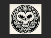 Aftermath -  Tattoo Sticker - Skull in flames