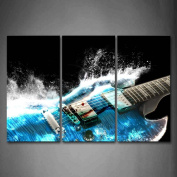Wall art painting Guitar In Blue And Waves Looks Beautiful Wall Art Painting The Picture Print On Canvas Music Pictures For Home Decor Decoration Gift