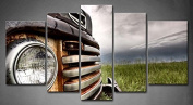 Wall art painting 5 Panel Wall Art Old Vintage Truck On The Prairie Painting Pictures Print On Canvas Car The Picture For Home Modern Decoration piece