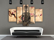 Framed 5 Panel Wall Art Religion Buddha Oil Painting On Canvas Palette Knife Best Landscape Fabric For Home Decor Stretched & Ready to Hang