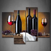 Grape Wine In Bottle Cups Wall Art Painting Pictures Print On Canvas Food The Picture For Home Modern Decoration