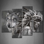 Wall art painting 4 Panel Wall Art Black And White Wolf And Indians Painting The Picture Print On Canvas Animal Pictures For Home Decor Decoration Gift piece