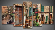 Wall art painting 5 Panel Wall Art Streets Of Old Mediterranean Towns Flower Door Windows Painting The Picture Print On Canvas Architecture Pictures For Home Decor Decoration Gift piece