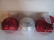"Red & White Glittered 4"" Ornaments Shatterproof"